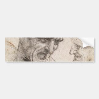 Study of Two Warriors Heads by Leonardo da Vinci Bumper Sticker
