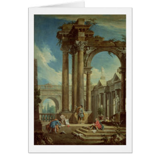 Studying Perspective among Roman Ruins Greeting Card