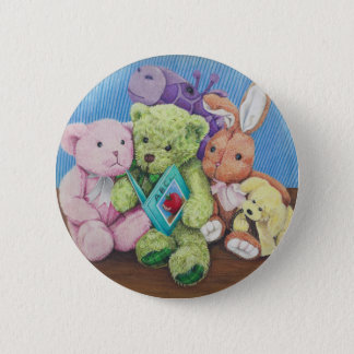 Stuff Animal Circle Time Art Print 6 Cm Round Badge