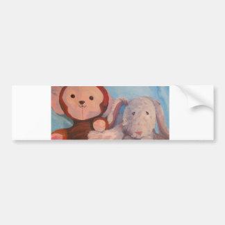 Stuff doll painting Mon and Amiga Bumper Sticker