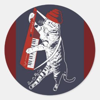 stuff on my cat - keytar classic round sticker