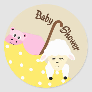 Stuffed Animals Hippo & Lamb Baby Shower Sticker