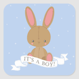 Stuffed Brown Bunny Rabbit It's a Boy! Baby Shower Square Sticker