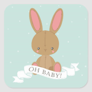 Stuffed Bunny Rabbit Oh Baby! Neutral Baby Shower Square Sticker