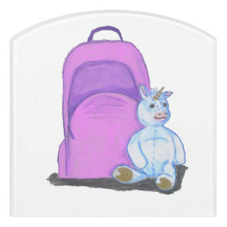 Stuffed Unicorn sits by a purple school Backpack Door Sign