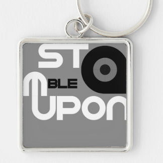 StumbleUpon Silver-Colored Square Key Ring