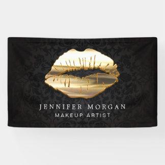 Stunning 3D Gold Lips Damask Beauty Salon Banner