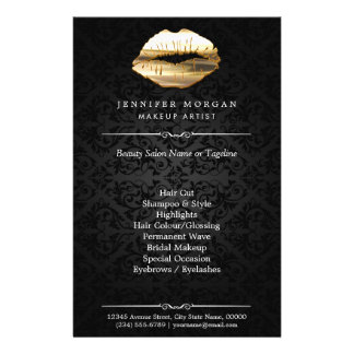 Stunning 3D Gold Lips Makeup Artist Beauty Salon 14 Cm X 21.5 Cm Flyer