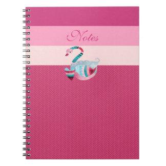 Stunning Abstract Pink Swan Valentine Heart Notebook