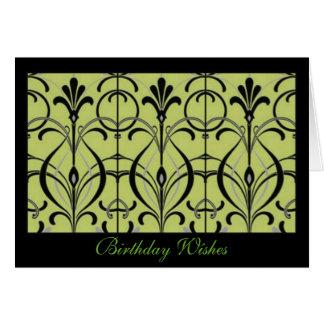 Stunning Art Nouveau Wrought Iron Design Birthday Card