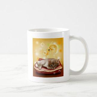 Stunning artwork with sleepy cat and goldfish basic white mug