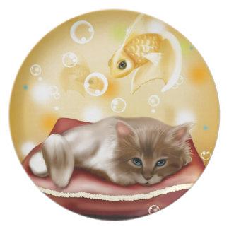 Stunning artwork with sleepy cat and goldfish plates