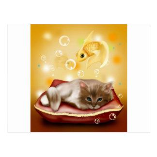 Stunning artwork with sleepy cat and goldfish postcard