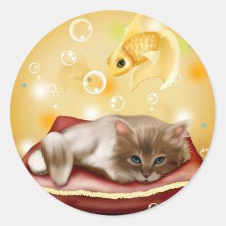 Stunning artwork with sleepy cat and goldfish round sticker