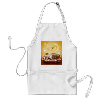 Stunning artwork with sleepy cat and goldfish standard apron