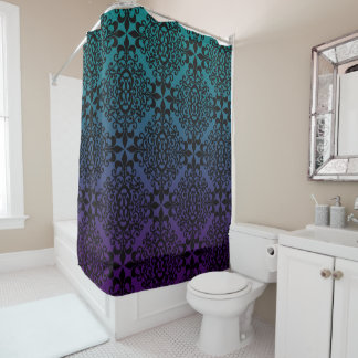 Stunning Black Teal And Purple Pattern Shower Curtain