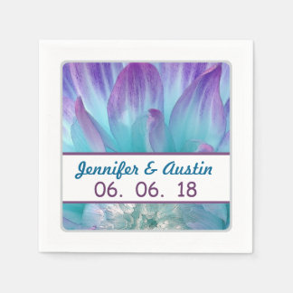 Stunning Blue and Purple Wedding Dahlia A09 Disposable Napkin