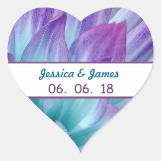 Stunning Blue and Purple Wedding Dahlia A11A Heart Sticker