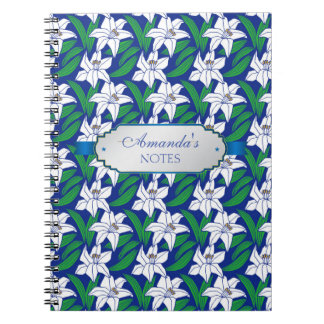 Stunning Blue White Flowers Personalized Notebooks