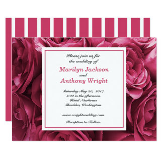 Stunning Bouquet of Pink Roses Wedding Invitation