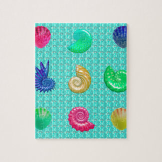 Stunning Bright Seashell Blue Beach Pattern Jigsaw Puzzle