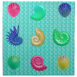Stunning Bright Seashell Blue Beach Pattern Napkin