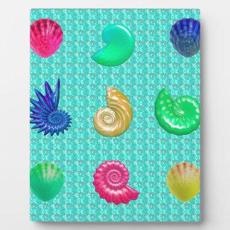 Stunning Bright Seashell Blue Beach Pattern Plaque