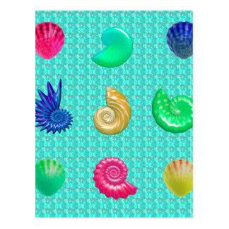 Stunning Bright Seashell Blue Beach Pattern Postcard