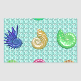 Stunning Bright Seashell Blue Beach Pattern Rectangular Sticker