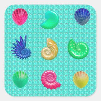 Stunning Bright Seashell Blue Beach Pattern Square Sticker
