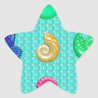 Stunning Bright Seashell Blue Beach Pattern Star Sticker