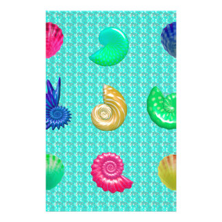 Stunning Bright Seashell Blue Beach Pattern Stationery