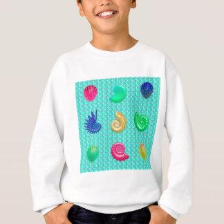 Stunning Bright Seashell Blue Beach Pattern Sweatshirt