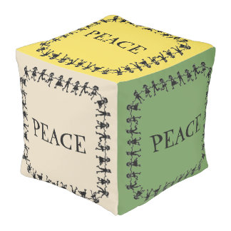Stunning Colorful PEACE Design Cube Pouf