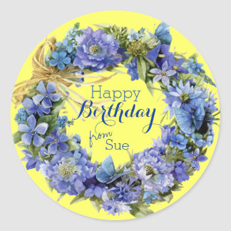 Stunning Customized Floral Birthday Stickers