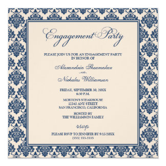Stunning Damask Engagement Party Invite (navy)