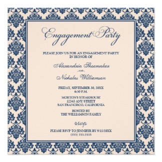 Stunning Damask Engagement Party Invite navy