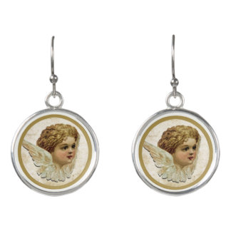 Stunning earrings with vintage angel motive