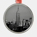 Stunning! Empire State Building New York City Silver-Colored Round Decoration