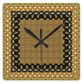 Stunning Gold And Black Tiled Motifs Wall Clock