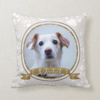 Stunning Gold and Sand Dog Memorial Paw Prints Cushion