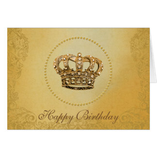 Stunning Gold Crown Happy Birthay Card