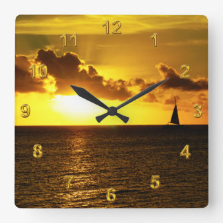Stunning Golden Sunset Beach Clocks or YOUR IMAGE