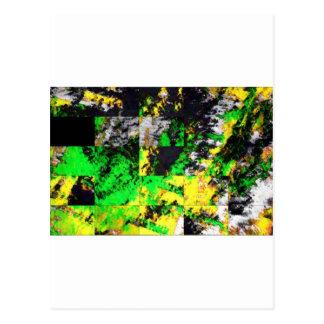 Stunning Green Yellow Abstract Fine Artwork Postcard
