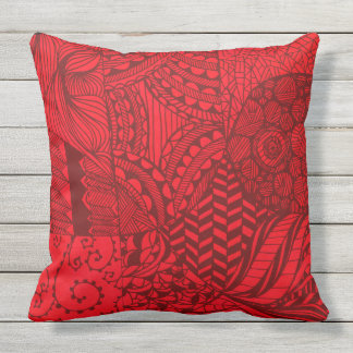STUNNING HAND DRAWN RED PEN AND INK throw cushion