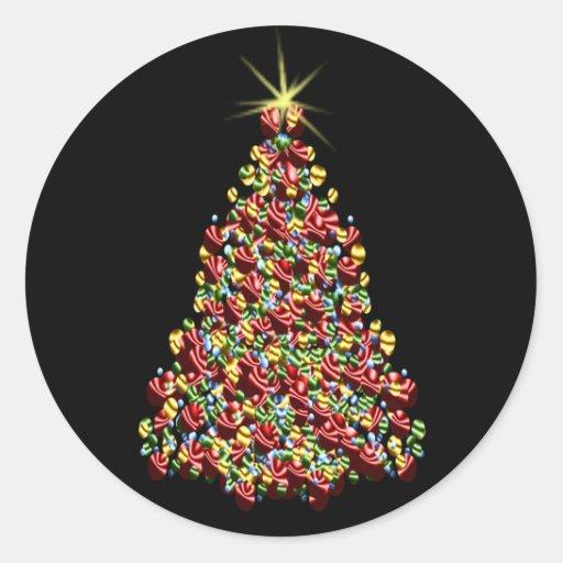 Stunning Holiday Tree Christmas Envelope Seals Round Sticker