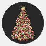 Stunning Holiday Tree Christmas Envelope Seals Round Stickers