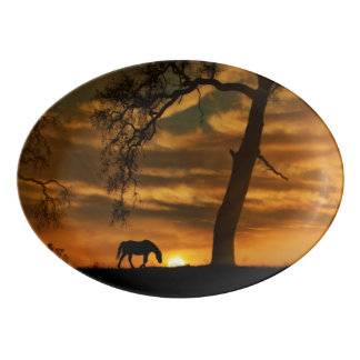Stunning Horse and Oak Tree Serving Dish