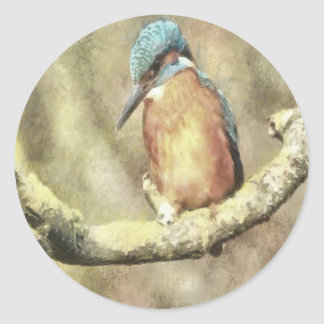 Stunning Kingfisher In Watercolor Classic Round Sticker