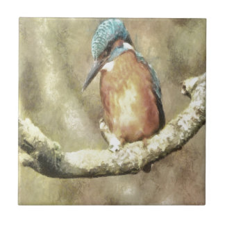Stunning Kingfisher In Watercolor Tile